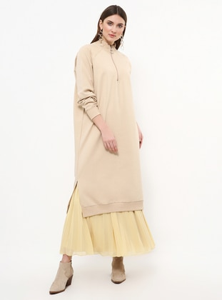 Beige - Polo neck - Cotton - Tunic