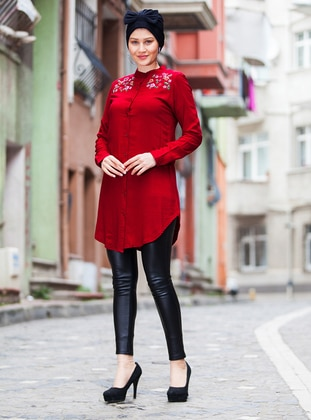Red - Button Collar - Cotton - Tunic