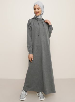 Anthracite - Unlined - Cotton - Dress
