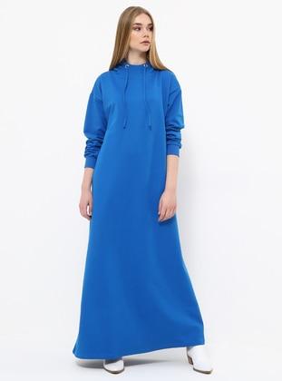 Blue - Saxe - Cotton - Dress