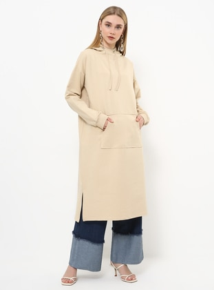 Beige - Polo neck - Tunic