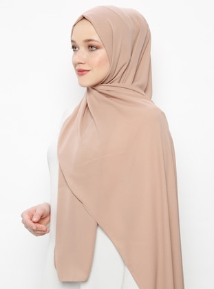 Camel - Plain - Crepe - Shawl