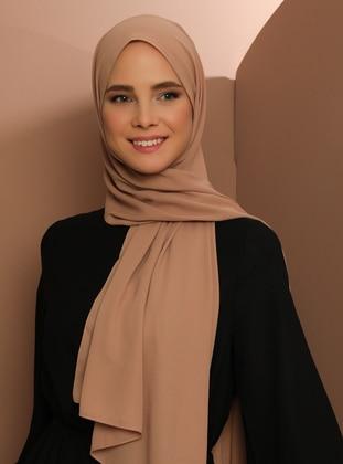 Brown - Plain - Crepe - Shawl -  Şal