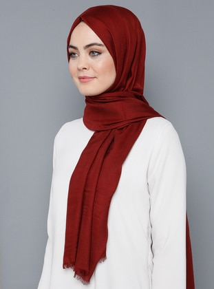 Maroon - Plain - %100 Silk - Shawl
