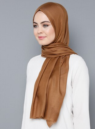 Camel - Plain - %100 Silk - Shawl