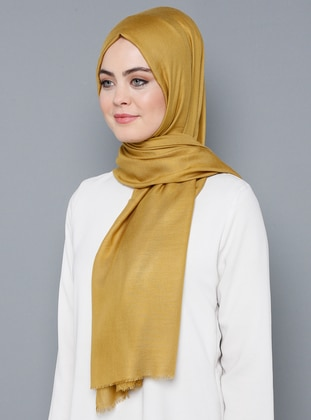 Gold - Plain - %100 Silk - Shawl