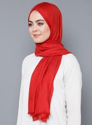Red - Plain - %100 Silk - Shawl