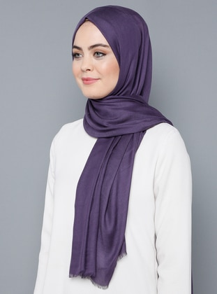Purple - Plain - %100 Silk - Shawl