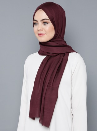 Plum - Plain - %100 Silk - Shawl