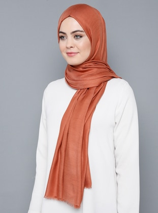 Orange - Plain - %100 Silk - Shawl