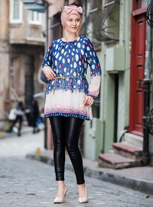 Navy Blue - Polka Dot - Crew neck - Tunic
