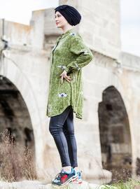 Green - Multi - Point Collar - Plus Size Tunic