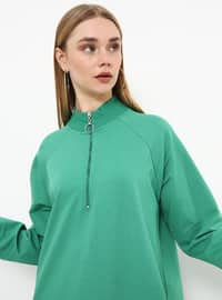 Green - Polo neck - Unlined - Dress