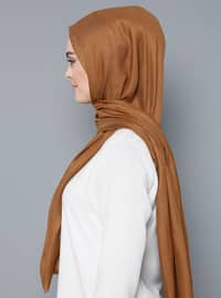 Beige - Plain - %100 Silk - Shawl