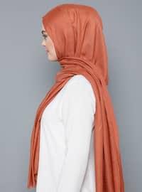 Orange - Plain - %100 Silk - Shawl