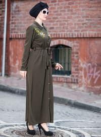 Khaki - Point Collar - Unlined - Dresses