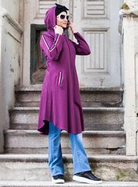 Plum - Unlined - Cotton - Topcoat