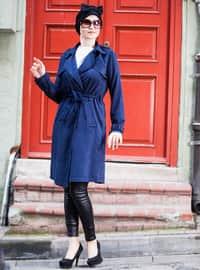 Navy Blue - Fully Lined - Shawl Collar - Topcoat