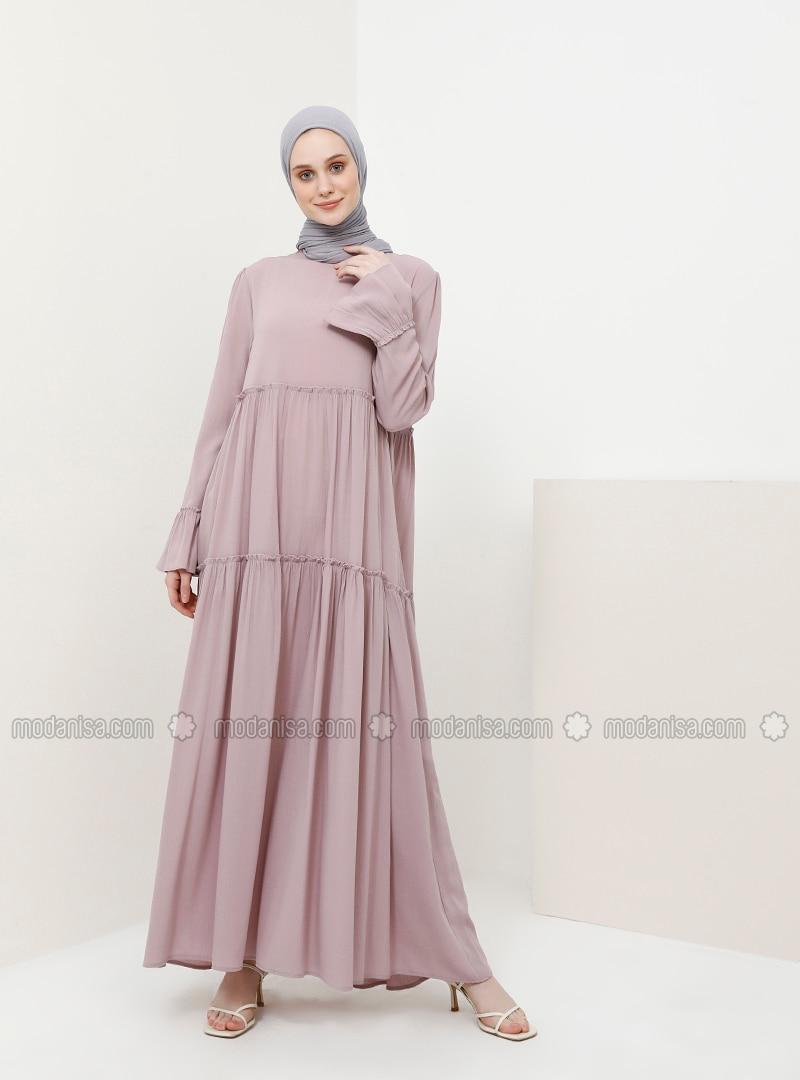 Lilac - Crew neck - Unlined - Viscose - Dress