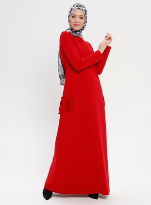 Red - Crew neck - Unlined - Viscose - Dresses