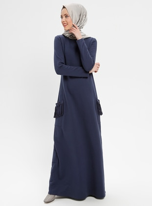 Navy Blue - Crew neck - Unlined - Viscose - Dresses