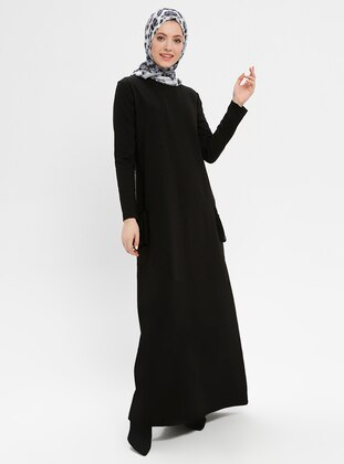 Black - Crew neck - Unlined - Viscose - Dresses