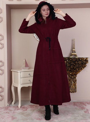 Maroon - Fully Lined - Crew neck - Coat - Night Blue Collection
