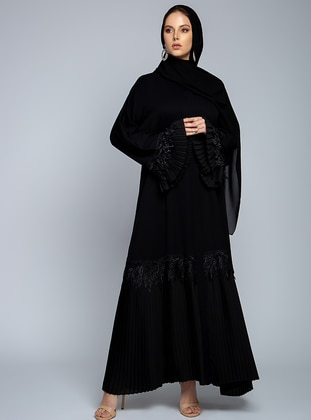 Black - Unlined - V neck Collar - Abaya