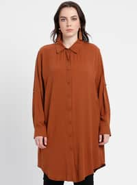 Tan - Point Collar - Viscose - Plus Size Tunic