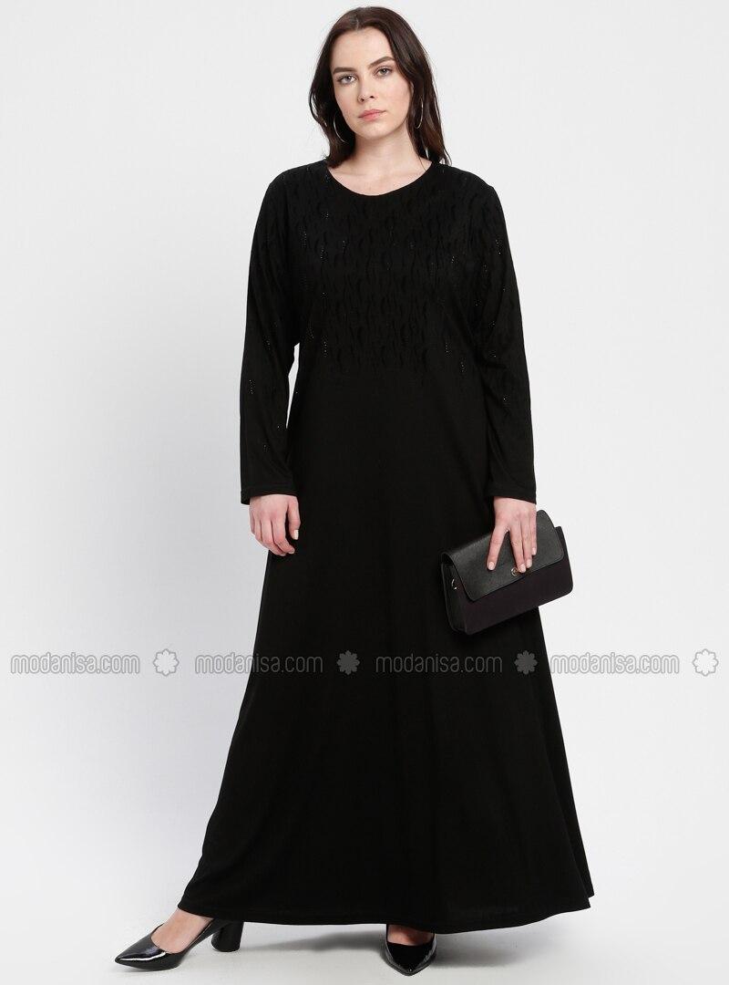 f57e303ef0156 Black - Unlined - Crew neck - Viscose - Plus Size Dress. Fotoğrafı büyütmek  için tıklayın