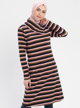 Navy Blue - Pink - Stripe - Polo neck - Tunic