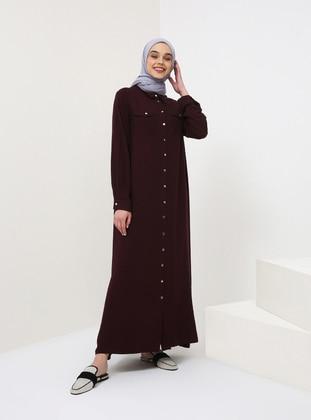 Plum - Point Collar - Unlined - Cotton - Dress