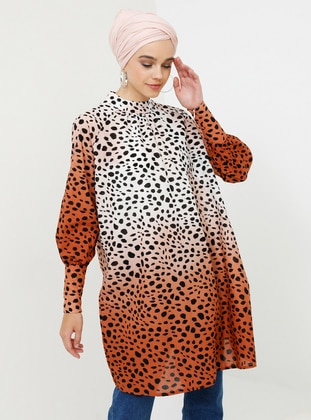 Brown - Beige - Leopard - Polo neck - Viscose - Tunic