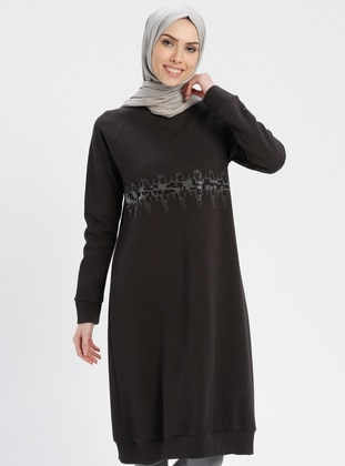 Smoke-coloured - Crew neck - Tunic