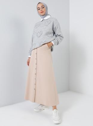 Beige - Unlined - Cotton - Denim - Skirt