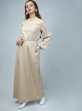 Beige - Polo neck - Unlined - Dresses