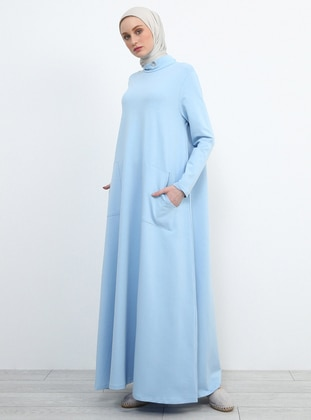 Baby Blue - Polo neck - Unlined - Dress