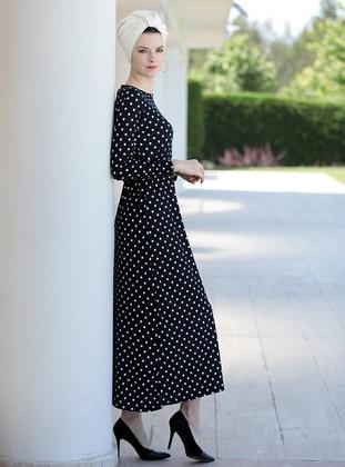 Black - Ecru - Polka Dot - Crew neck - Dresses