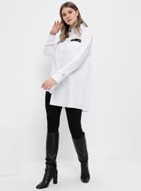 White - Ecru - Point Collar - Cotton - Plus Size Tunic