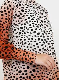 Brown - Beige - Leopard - Polo neck - Viscose - Tunic