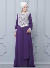 Purple - Crew neck - Half Lined - Dress