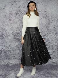 Black - Ecru - Unlined - Skirt