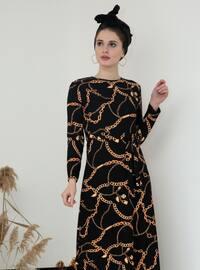 Siyah - Altın - Puantiyeli - Yuvarlak yakalı - Elbise