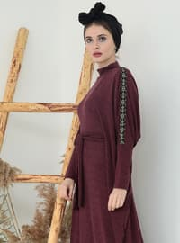 Maroon - Polo neck - Unlined - Dresses