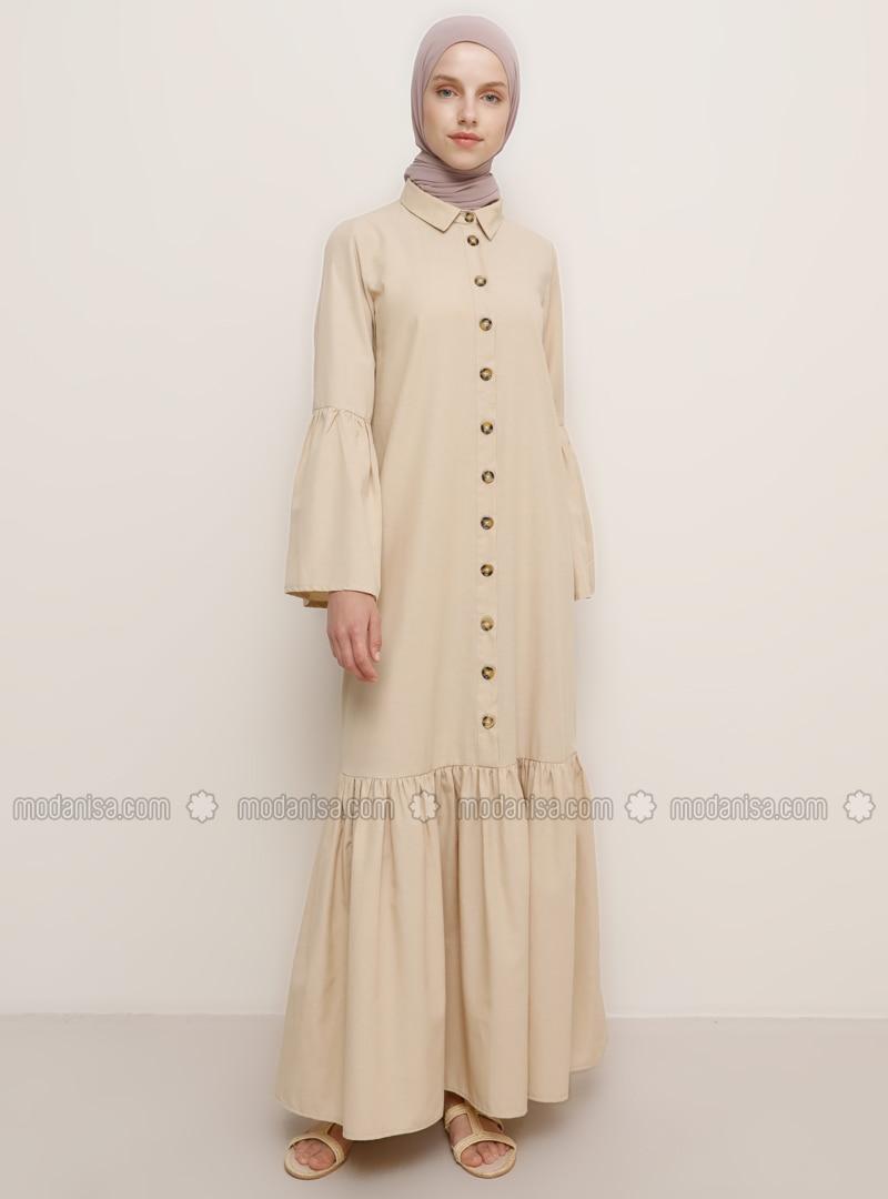 Beige Spitzer Kragen Ohne Innenfutter Viskose Hijab Kleid