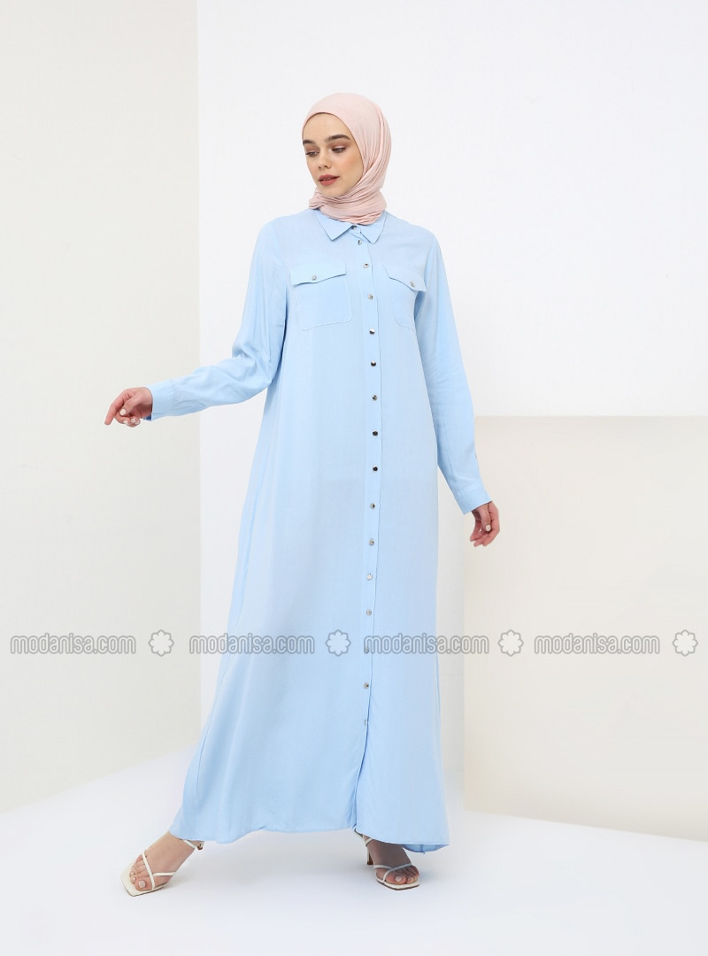 Blue - Baby Blue - Point Collar - Unlined - Cotton - Dress