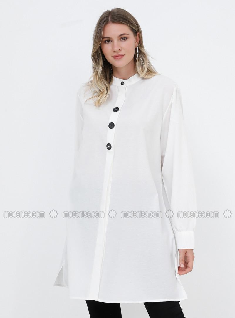 White - Ecru - Button Collar - Cotton - Plus Size Tunic