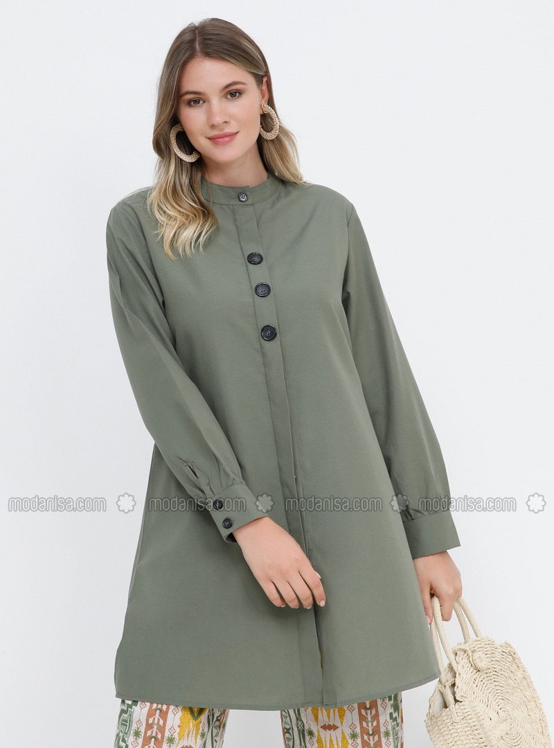 Khaki - Button Collar - Cotton - Plus Size Tunic