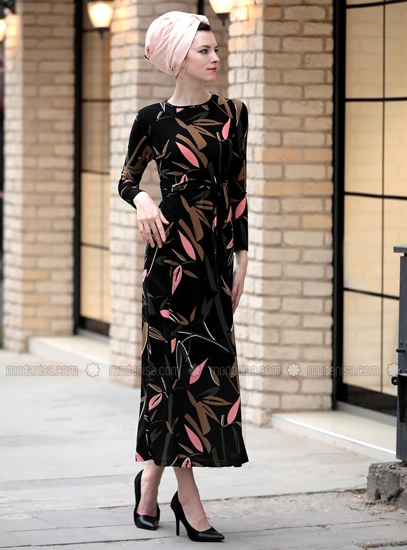 Floral - Crew neck - Dresses