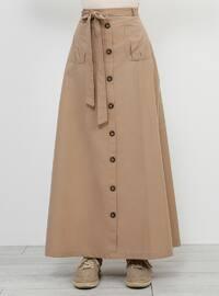 Beige - Unlined - Cotton - Skirt